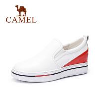 Camel/骆驼女鞋   时尚拼色休闲内增高单鞋秋鞋