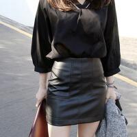 春夏新款高腰半身裙 小皮裙 防走光短裙 皮裙 PU皮包臀裙一步裙 黑色 XS 腰围1尺8