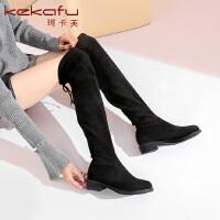 19珂卡芙冬季新款【修饰腿型】韩版时尚长筒时装靴瘦瘦粗跟女靴