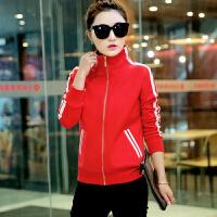 卫衣冬季韩版女装短款加厚加绒立领开衫上衣春秋冬装休闲运动外套 M 80--97斤