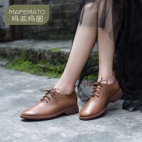 【下单立享7折】玛菲玛图手工女鞋头层牛皮系带中跟圆头复古英伦单鞋女2019新款6197-5