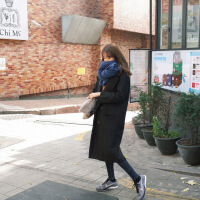新品黑色围巾女秋冬季加厚百搭保暖冬天韩版学生韩国长款纯色针织毛线