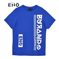BURANDOENO潮牌19年新品男短袖T恤字母圆领T恤E19F11MSS001