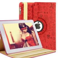 ikodoo爱酷多 苹果平板电脑iPad2/3/4可爱立体压花旋转保护套 智能休眠 可做多功能支架皮套 ipad2保护