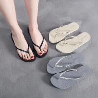 人字拖女夏时尚平底外穿简约夹脚沙滩鞋海边凉拖鞋潮