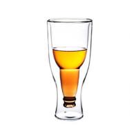 楼龙 耐热玻璃杯 创意双层倒立啤酒杯 果汁饮料杯 CF-128    1503