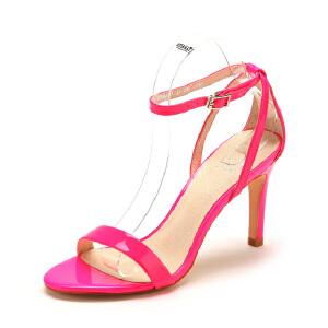 【3折到手价113.7元】D:FUSE/迪芙斯夏款牛皮荧光亮色细高跟凉鞋女鞋DF42110081
