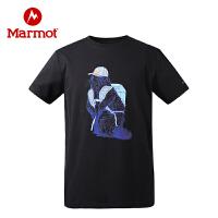 【开学季】Marmot/土拨鼠2021春夏新款户外运动男士轻量棉质舒适短袖T恤