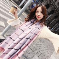 新品韩版围巾女冬季百搭双面格子披肩两用长款加厚保暖学生秋冬天围脖