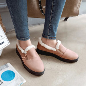 O'SHELL欧希尔新品006-M2001韩版磨砂绒面平底鞋女士懒人毛毛鞋