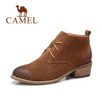 Camel/骆驼短靴  新品 欧美简约系带时尚方跟女靴时装靴