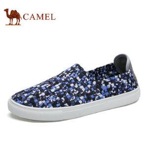 camel骆驼男鞋 秋季新品 柔软透气松紧编织轻便懒人套脚鞋子男
