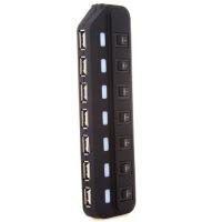 赛勒普 SLP-HUB02 USB分线器 HUB转换器集线器 一拖七高速7口集线器HUB 黑色 带电源适配器 可带动2