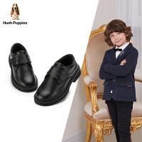 【3折价:209.4元】暇步士Hush Puppies童鞋男童黑色牛皮鞋秋季中大童学生鞋松糕底休闲鞋(3-13岁可选)D