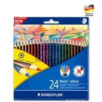 全店满百包邮!德国STAEDTLER施德楼WOPEX185 24色绘画涂鸦油性可擦环保彩色铅笔