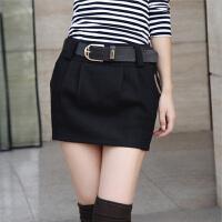 特尚莱菲 春秋新款女韩羊毛呢修身显瘦半身包臀短裙【送腰带】】DFB6002