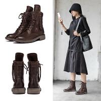 玛菲玛图秋季新款真皮马丁靴女复古粗跟欧美帅气机车靴保暖女短靴5751-109