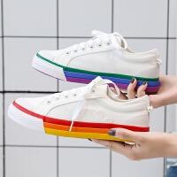 2019网红彩虹帆布鞋女板鞋学生潮鞋布鞋小白鞋41-43大码女鞋