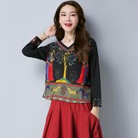 复古西藏拉萨大西北云南丽江大理棉麻缅甸服装民族风女装短单上衣 图片色