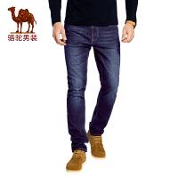 骆驼男装牛仔裤 男士新款商务休闲长裤时尚弹力直筒水洗百搭裤子