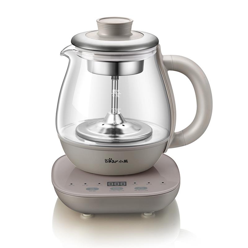 小熊(Bear)煮茶器 养生壶办公室电热蒸汽泡煮茶壶玻璃智能迷你小型黑茶电茶炉 ZCQ-A08H2 支持* 喷淋式煮茶 0.8L容量 高硼硅玻璃