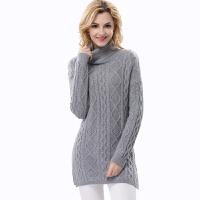 羊绒衫女士毛衣中长款纯羊绒衫女士高领加厚大码修身保暖打底衫2017秋冬新品毛衣
