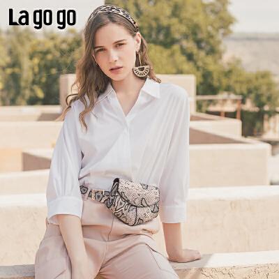 Lagogo2019年秋季新款修身V领蝙蝠袖上衣女七分袖显瘦ICSS537C19