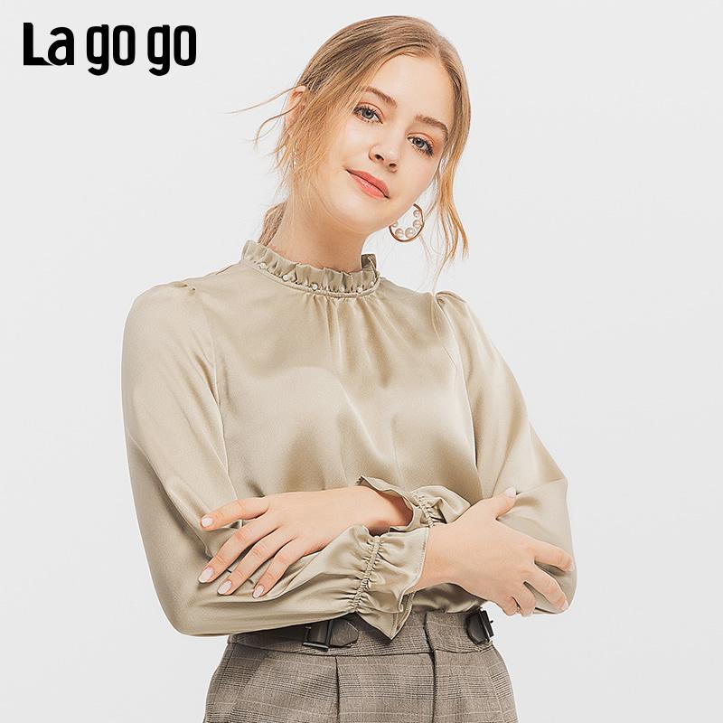 Lagogo/拉谷谷2019冬季新款镂空珍珠立领上衣女ICSS53XA06