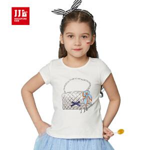 jjlkids季季乐童装夏季中大女童圆领短袖体恤卡通纯棉舒适t恤