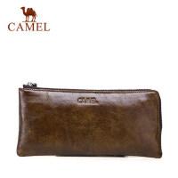 Camel/骆驼男包男士真皮手拿包休闲牛皮手包男软皮长款钱包手机包
