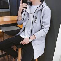 2018冬季新款休闲时尚防风衣青少年连帽外套男水波纹厚面料