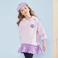 戴维贝拉kids春季新款女童卫衣中大童裙式上衣DBK9131