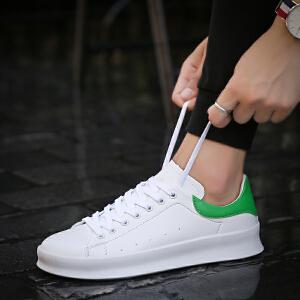 【每满100减50】Galendar男子板鞋2018新款轻便百搭厚底增高小白鞋男生系带休闲板鞋QDG91