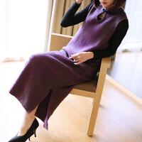新款针织改良版旗袍连衣裙女修身无袖中长款宽松显瘦秋装 均码