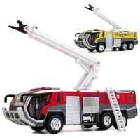 机场消防车模型儿童玩具车消防车合金回力车小汽车声光