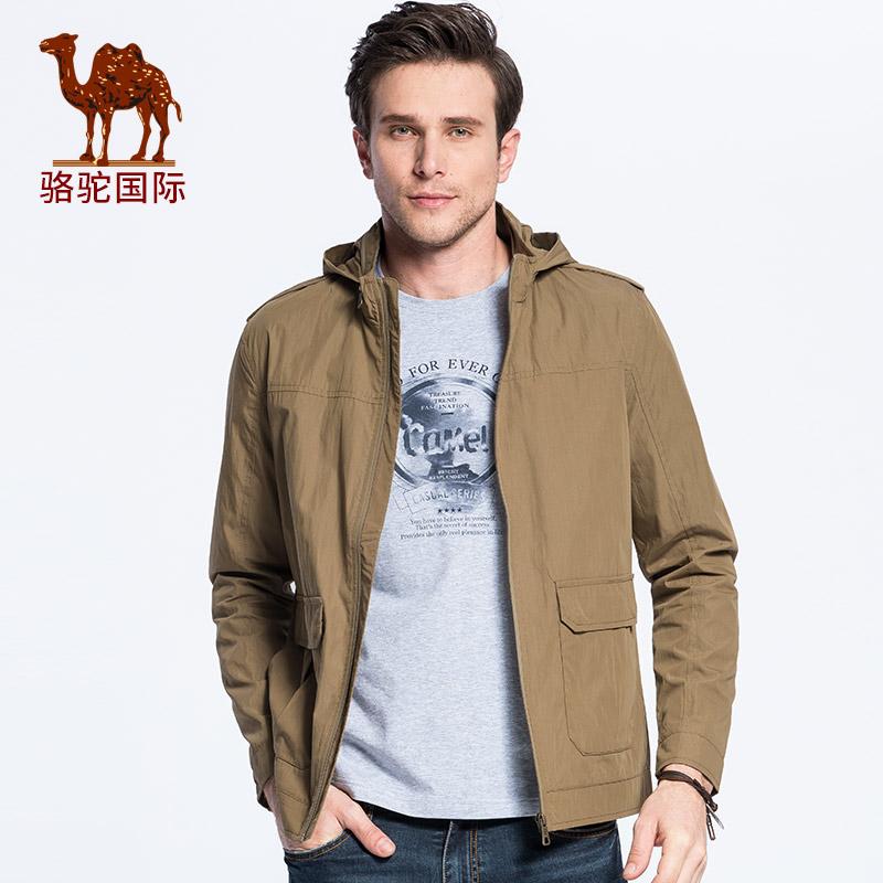 【领卷满299减200,限10月18日】骆驼男装新款休闲舒适防风保暖立领可收纳帽夹克外套男