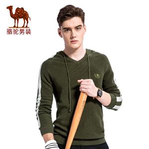 骆驼男装 秋季新款V领带帽男士毛衣套头休闲男上衣