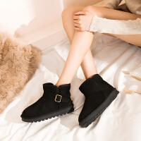 【防滑牛筋底抗寒绒里】新款冬金属扣女短筒靴套脚保暖雪