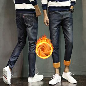 【买了都说好】 【厂价直销】冬季牛仔裤男士青少年破洞复古修身直筒小脚裤学生韩版加绒长裤潮