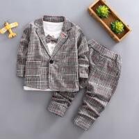 儿童西装套装男1-3周岁小孩三件套秋季小童帅气礼服2宝宝外出衣服YY58
