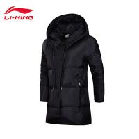 李宁中长款羽绒服女士运动时尚保暖冬季80%白鸭绒运动服AYMM124
