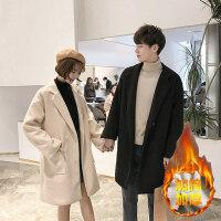 毛呢大衣男情侣冬季韩版潮流修身中长款风衣2018新款加绒加厚呢子外套