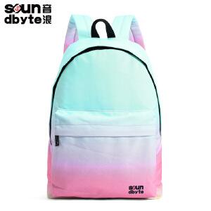 soundbyte双肩包男女新款学生书包蓝粉色印花帆布背包电脑包防泼水
