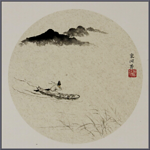 团扇国画-刘东河【真迹R1196】南京艺术学院毕业