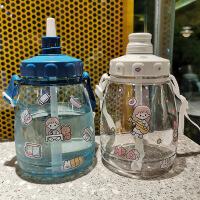 大容量塑料杯子女带吸管水杯夏季儿童便携学生男可爱运动水壶(赠贴纸、杯刷、吸管刷)