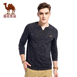 骆驼男装 2017年秋季新款长袖精致绣标V领时尚男青年休闲T恤衫