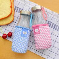 韩国可爱便携创意花茶早餐牛奶玻璃杯子 学生水杯