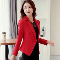 小西装女2018春装新款排两扣女西装修身显瘦短款外套纯色大码女装 红色 KKYC-065