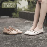 玛菲玛图2020秋季新款单鞋女欧美浅口平底鞋细带蝴蝶结低跟鞋2890-6