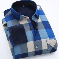 秋冬装男士新款韩版修身加绒加厚保暖长袖衬衫商务休闲格子衬衣潮